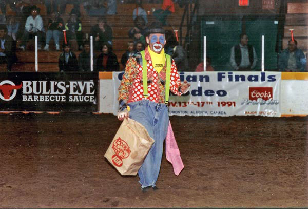 A rodeo clown at the Black Gold Rodeo entertains the crowd thanks to local sponsors