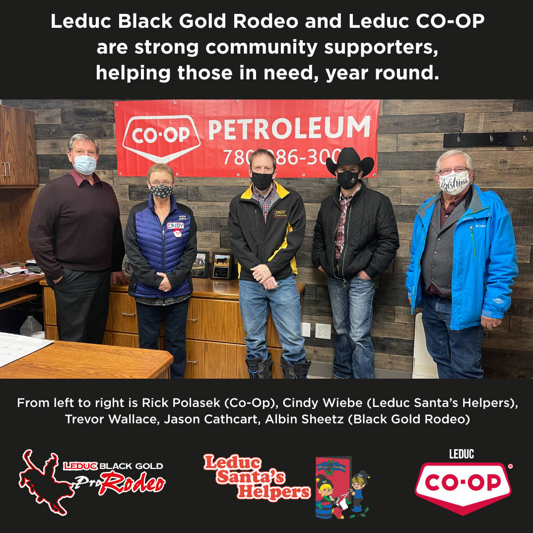 Leduc Black Gold Rodeo and Leduc Coop donating to Leduc Santa's Helpers